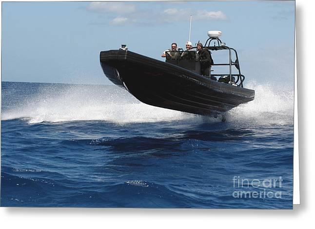 U.s. Navy Sailors Operate A Nine-meter Greeting Card by Stocktrek Images