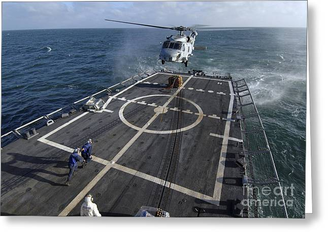 Helipad Greeting Cards - U.s. Navy Sailors Prepare To Attach Greeting Card by Stocktrek Images