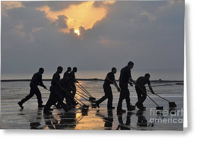Scrubbing Greeting Cards - U.s. Navy Sailors Wash Down The Flight Greeting Card by Stocktrek Images