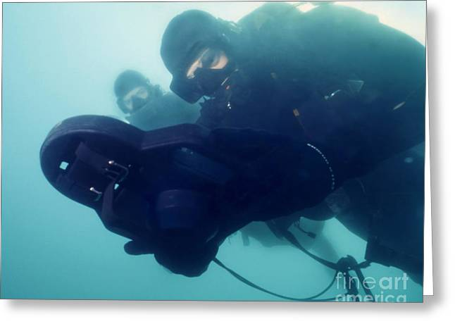 Scuba Diving Greeting Cards - U.s. Navy Seal Combat Swimmer Pair Greeting Card by Michael Wood