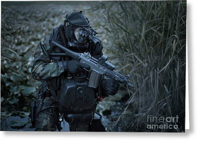 Sharpshooter Greeting Cards - U.s. Navy Seal Equpped With Night Greeting Card by Tom Weber