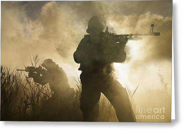 Sharpshooter Greeting Cards - U.s. Navy Seals During A Combat Scene Greeting Card by Tom Weber