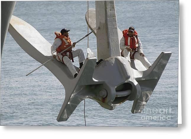 Enterprise Greeting Cards - U.s. Navy Servicemen Apply A Coat Greeting Card by Stocktrek Images
