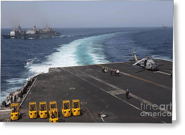 Arabian Sea Greeting Cards - U.s. Navy Ships In The Arabian Sea Greeting Card by Gert Kromhout
