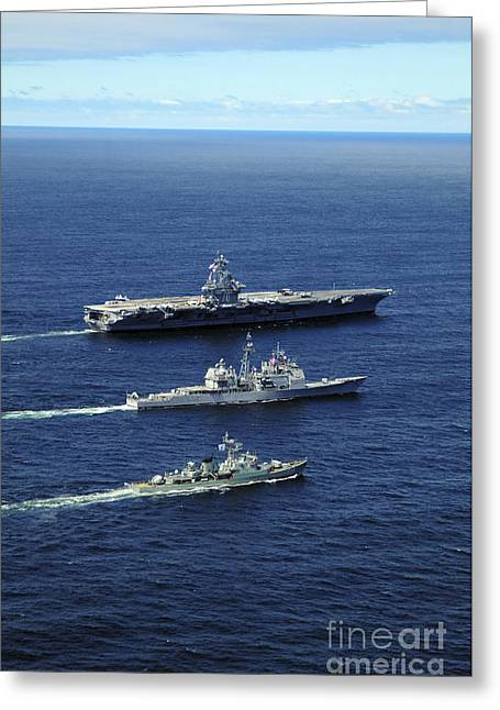 Southern Class Greeting Cards - U.s. Navy Ships Perform Tactical Greeting Card by Stocktrek Images