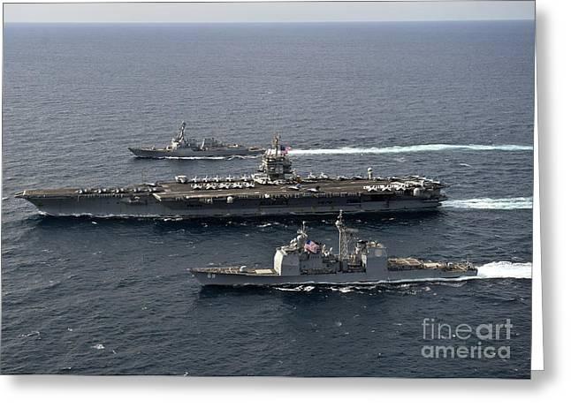 Enterprise Greeting Cards - U.s. Navy Ships Transit The Atlantic Greeting Card by Stocktrek Images