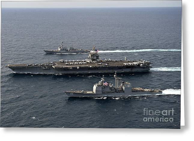 U.s. Navy Ships Transit The Atlantic Greeting Card by Stocktrek Images