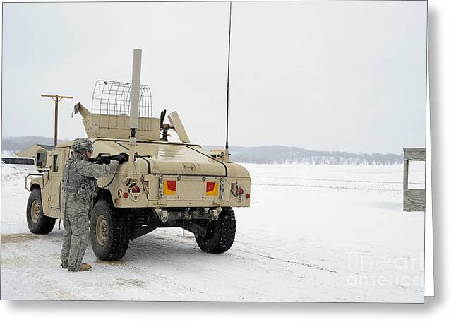 Mccoy Greeting Cards - U.s. Soldier Takes Cover Greeting Card by Stocktrek Images
