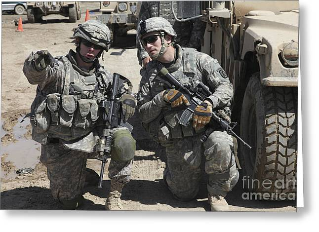 U.s. Soldiers Coordinate Security Greeting Card by Stocktrek Images