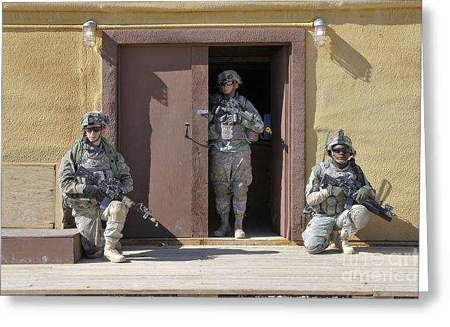 Vigilant Greeting Cards - U.s. Soldiers On Guard At Fort Irwin Greeting Card by Stocktrek Images