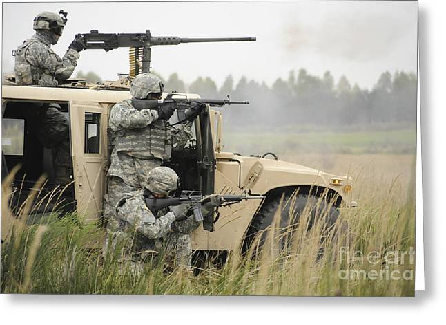 Up-armored Greeting Cards - U.s. Soldiers Perform A Platoon Mounted Greeting Card by Stocktrek Images