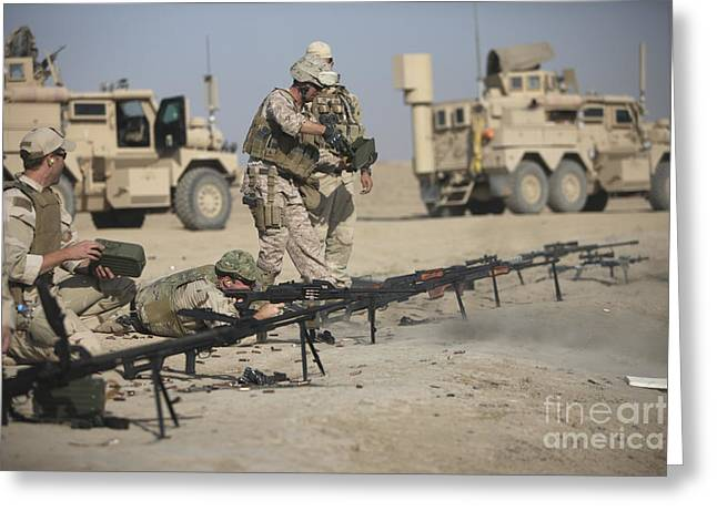 U.s. Soldiers Prepare To Fire Weapons Greeting Card by Terry Moore