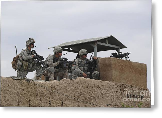 Afghanistan National Police Greeting Cards - U.s. Soldiers Secure A Perimeter Greeting Card by Stocktrek Images