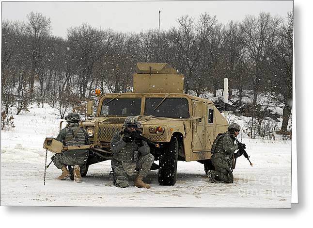 Scenario Greeting Cards - U.s. Soldiers Take Cover Greeting Card by Stocktrek Images