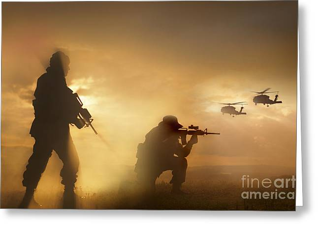 Knelt Photographs Greeting Cards - U.s. Special Forces Provide Security Greeting Card by Tom Weber
