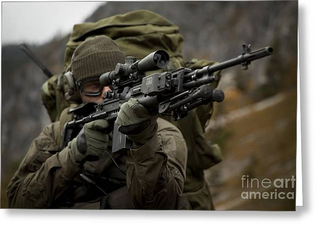 Sharpshooter Greeting Cards - U.s. Special Forces Soldier Armed Greeting Card by Tom Weber
