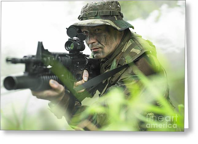 Jungle Warfare Greeting Cards - U.s. Special Forces Soldier Patrols Greeting Card by Tom Weber