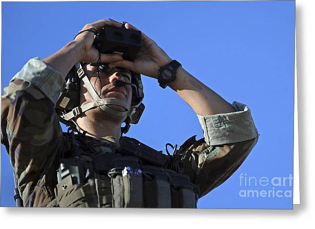 U.s. Special Operations Soldier Looks Greeting Card by Stocktrek Images