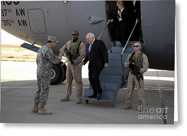 Baghdad Greeting Cards - U.s. Vice President, Dick Cheney Greeting Card by Stocktrek Images