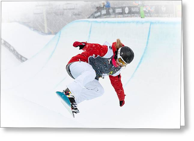 U.s. Open Greeting Cards - U.s. Womens Snowboarding Open Greeting Card by Linda Pulvermacher