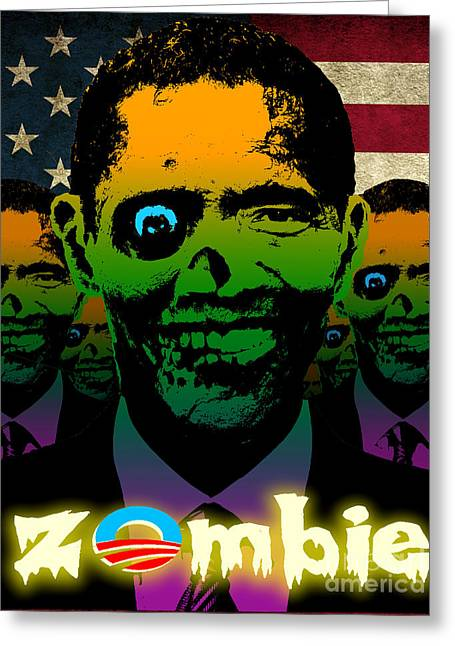 Liberal Digital Greeting Cards - USA Flag Zombie Obama Horde Greeting Card by Robert Phelps