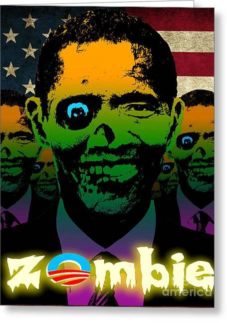 Robert Phelps Robert Phelps Art Greeting Cards - USA Flag Zombie Obama Horde Greeting Card by Robert Phelps