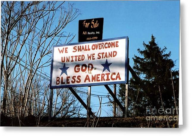 We Shall Overcome Greeting Cards - USA For Sale Greeting Card by Susan Stevenson
