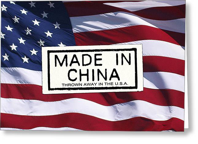 Conservative Greeting Cards - USA Made In China Greeting Card by Rein Gillstrom