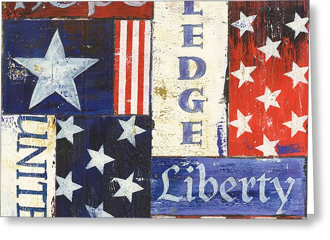 Old Paintings Greeting Cards - USA Pride 1 Greeting Card by Debbie DeWitt