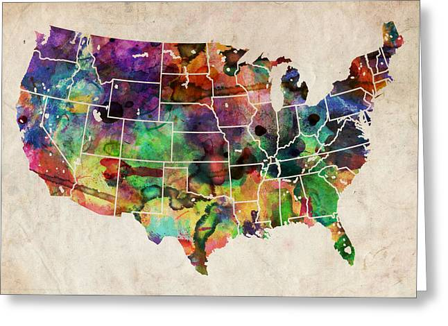Cartography Digital Art Greeting Cards - USA Watercolor Map Greeting Card by Michael Tompsett