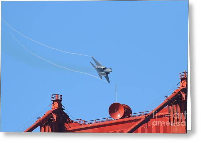 Fleet Week Greeting Cards - USAF F-15 Strike Eagle Above The San Francisco Golden Gate Bridge . 7D7890 Greeting Card by Wingsdomain Art and Photography