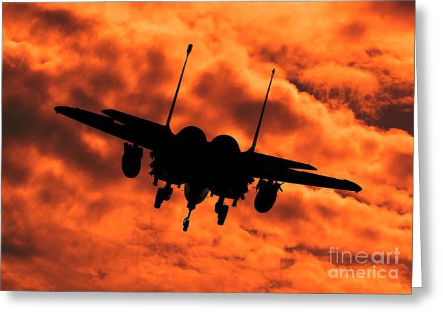 Clare Scott Greeting Cards - USAF Strike Eagle F15 E flying into the Sunset Greeting Card by Clare Scott