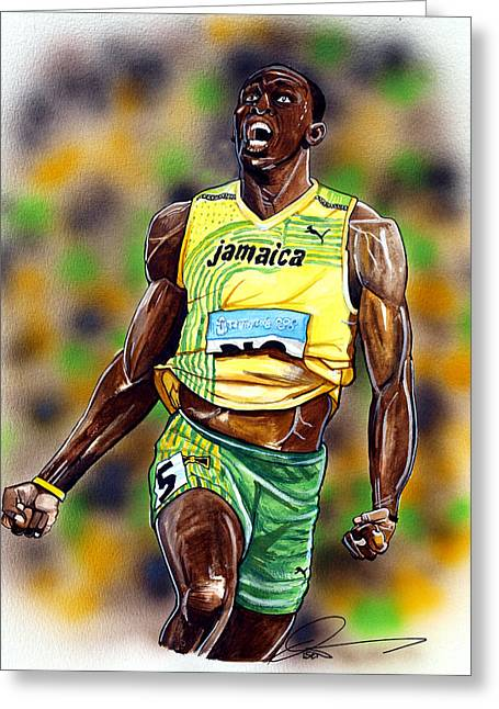 Olympics Drawings Greeting Cards - Usain Bolt...The Worlds Fastest Man Greeting Card by Dave Olsen
