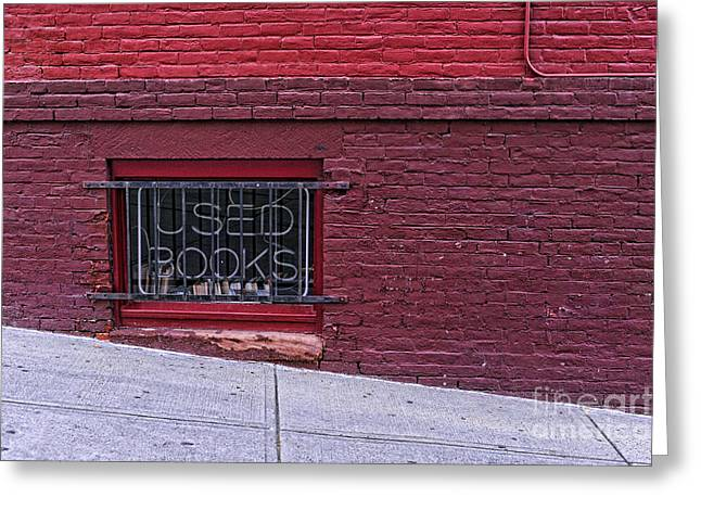 Brick Streets Greeting Cards - Used Books Greeting Card by HD Connelly
