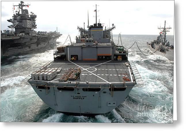 Usns Supply Conducts A Replenishment Greeting Card by Stocktrek Images
