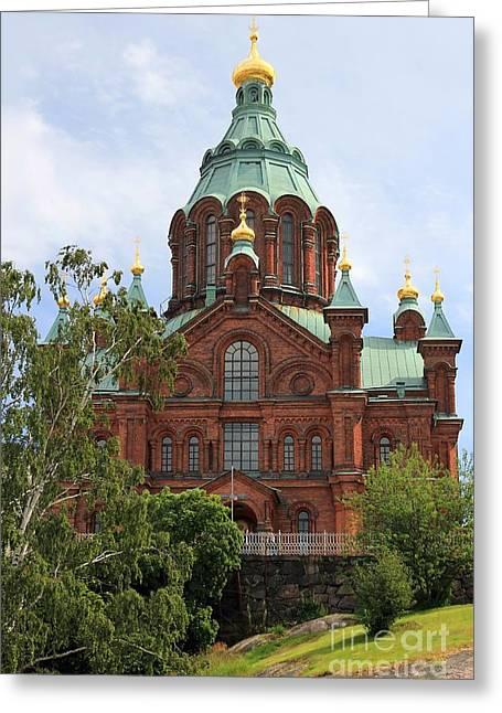 Helsinki Finland Greeting Cards - Uspenski Cathedral Helsinki Greeting Card by Sophie Vigneault