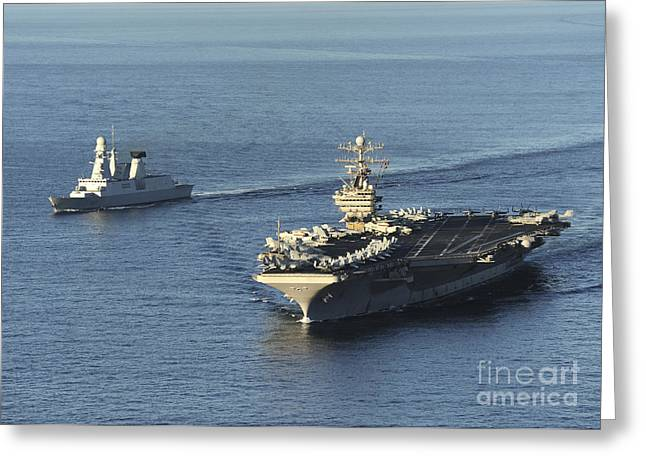 Nimitz-class Greeting Cards - Uss Abraham Lincoln And French Navy Greeting Card by Stocktrek Images