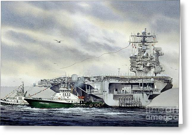 Aircraft Artist Greeting Cards - Uss Abraham Lincoln Greeting Card by James Williamson
