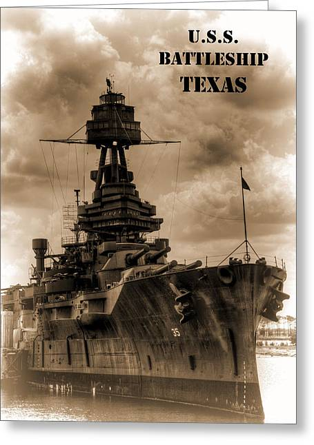 In Focus Greeting Cards - USS Battleship Texas Greeting Card by John Kain