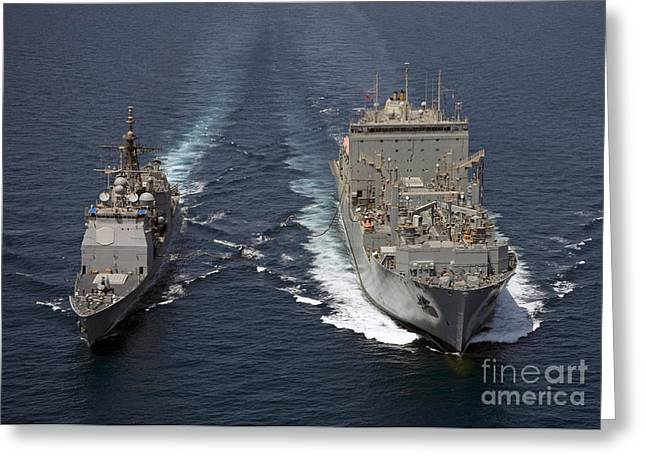 Cooperation Greeting Cards - Uss Cape St. George Pulls Alongside Greeting Card by Stocktrek Images