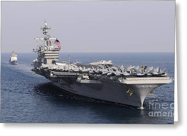 Nimitz-class Greeting Cards - Uss Carl Vinson And Uss Bunker Hill Greeting Card by Stocktrek Images