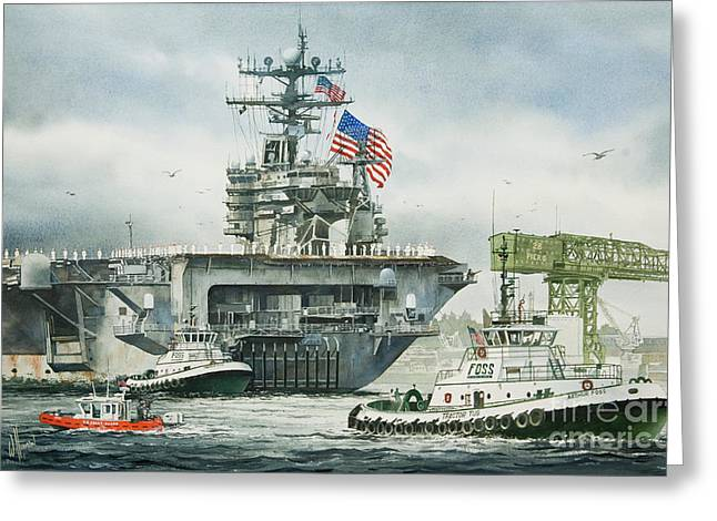 Aircraft Artist Greeting Cards - Uss Carl Vinson Greeting Card by James Williamson