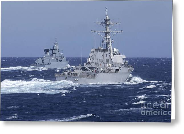 Nato Greeting Cards - Uss Carney Practices Diversion Tactics Greeting Card by Stocktrek Images