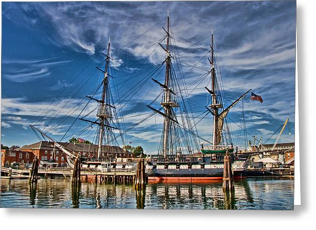 Tall Ships Greeting Cards - USS Constitution-Boston Greeting Card by Joann Vitali