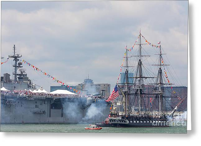 Recently Sold -  - Schooner Greeting Cards - USS Constitution Salutes USS Wasp Greeting Card by Susan Cole Kelly