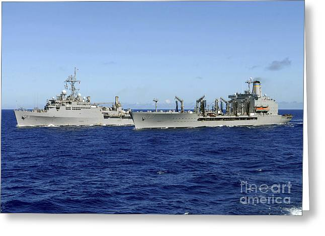 Boats At Dock Greeting Cards - Uss Denver And Usns Pecos Conduct Greeting Card by Stocktrek Images