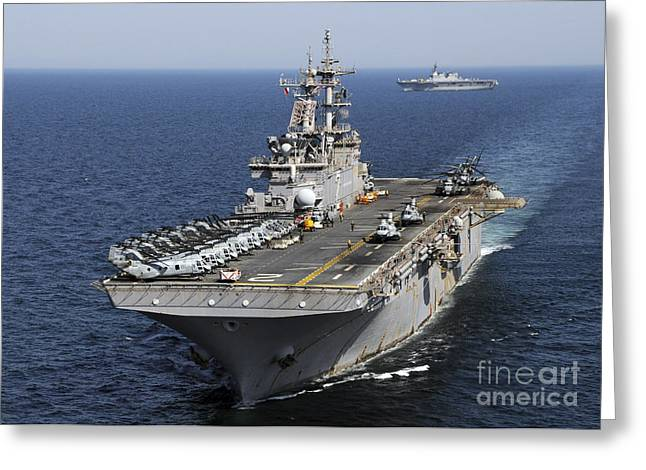 Uss Essex Greeting Cards - Uss Essex Transits Off The Coast Greeting Card by Stocktrek Images