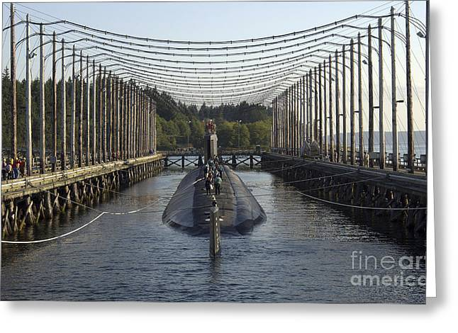 Maintenance Facility Greeting Cards - Uss Jimmy Carter Moored In The Magnetic Greeting Card by Stocktrek Images