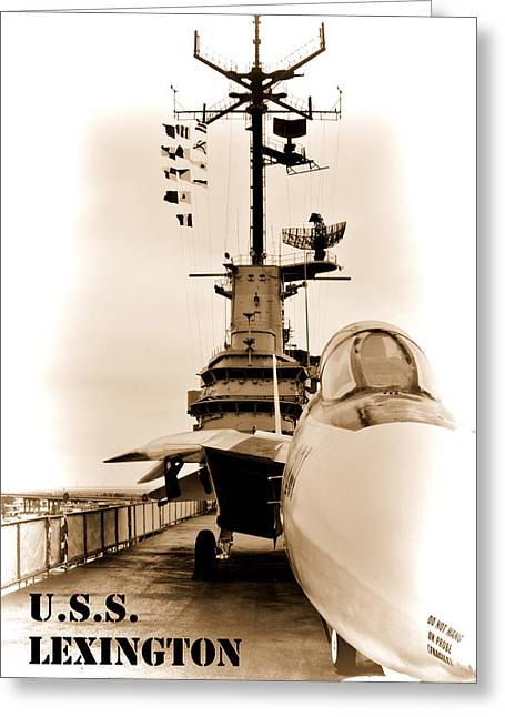 Galveston Digital Art Greeting Cards - USS Lexington Greeting Card by John Kain