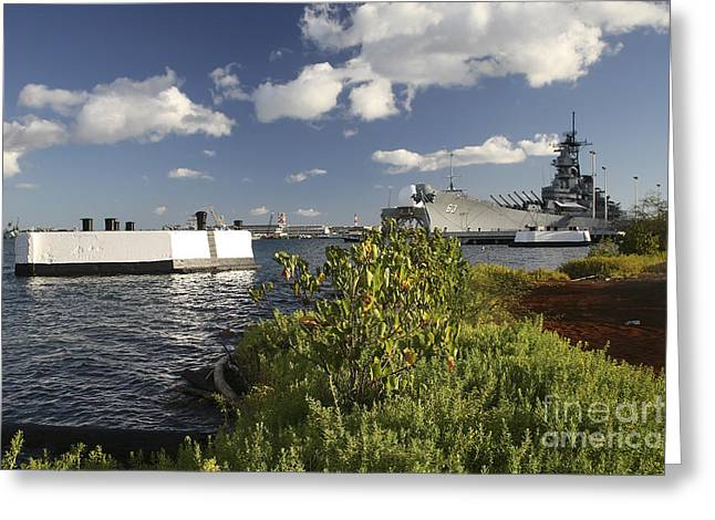 16 Inch Guns Greeting Cards - Uss Missouri Berthed Pierside At Ford Greeting Card by Michael Wood